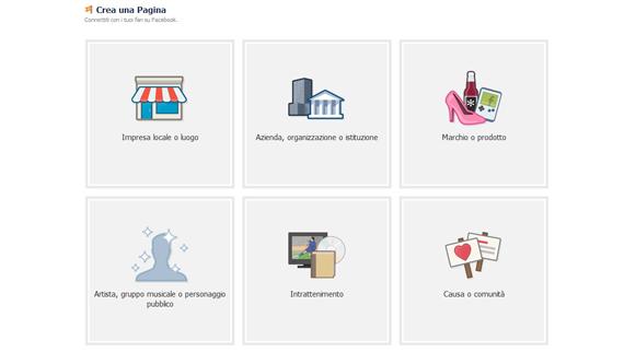 Categorie pagine aziendali Facebook