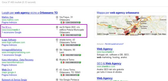 Risultati locali di Google