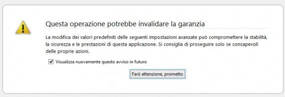 Schermata di Firefox - Mozilla dopo aver digitato about:config