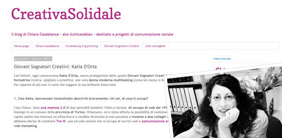 Intervista Katia D'Orta per CreativaSolidale di Chiara Casablanca