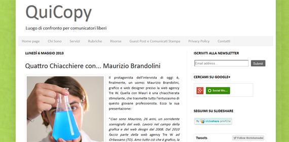 Intervista Maurizio Brandolini per QuiCopy di Cristiana Tumedei