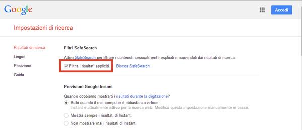 impostazioni Google safe search