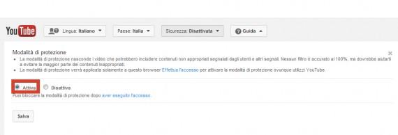Attivare la modalità sicurezza su youtube