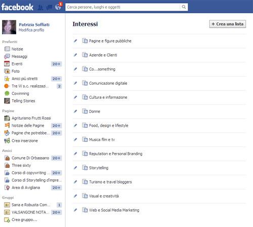 Crea lista Facebook