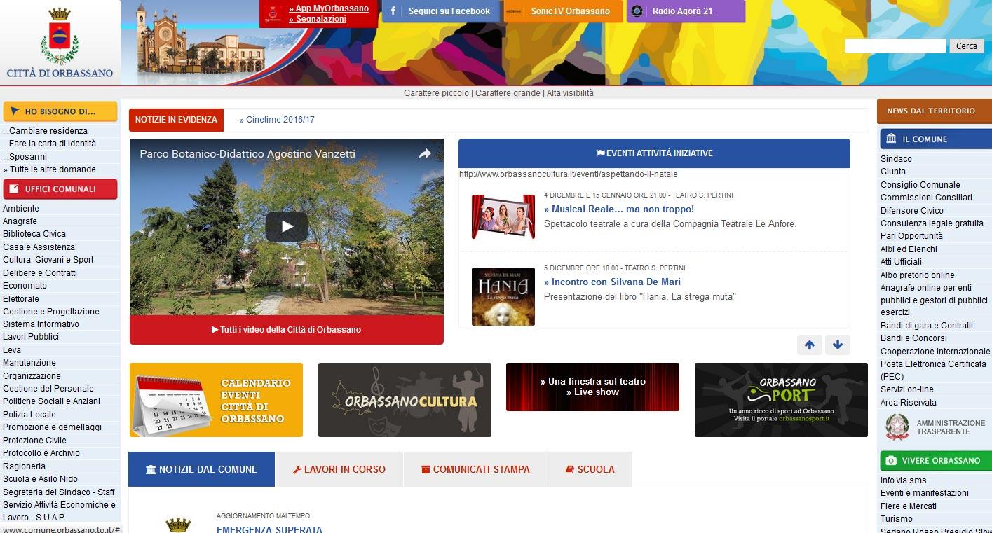 Sito web città di Orbassano