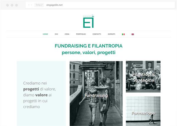 Sito Engagedin fundraising - realizzato da Tre W siti web