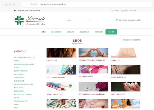 Sito e-commerce farmacie orbassano rivalta - realizzato da Tre W siti web