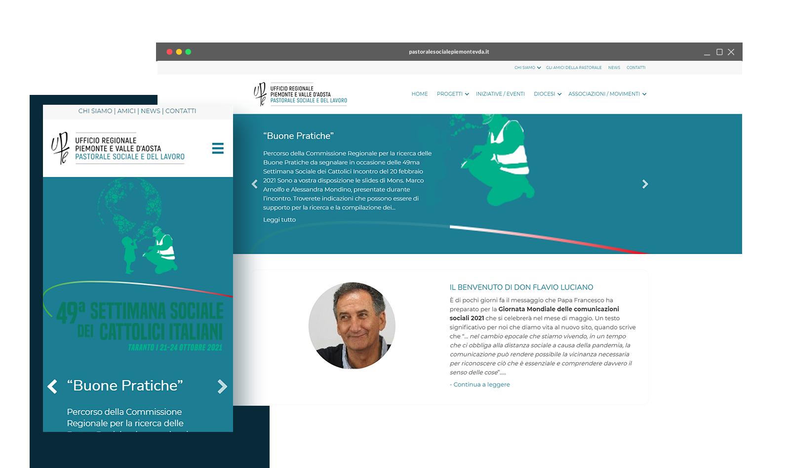 UFFICIO REGIONALE PIEMONTE E VALLE D'AOSTA PASTORALE SOCIALE E DEL LAVORO - Dispositivi - Logo - Tre Siti Web